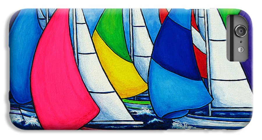 Boats IPhone 6 Plus Case featuring the painting Colourful Regatta by Lisa Lorenz
