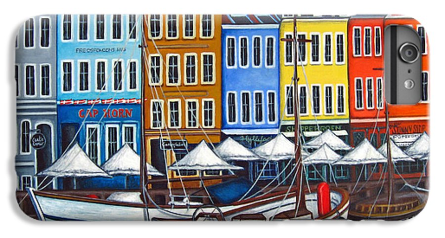 Nyhavn IPhone 6 Plus Case featuring the painting Colours Of Nyhavn by Lisa Lorenz