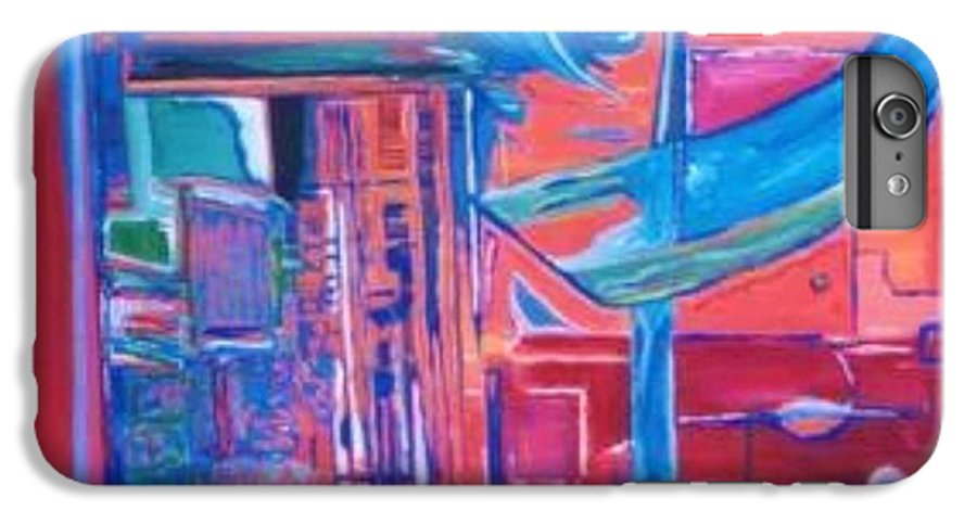 Red IPhone 6 Plus Case featuring the painting Composicion Azul by Michael Puya