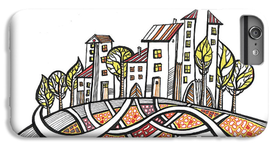 Houses IPhone 6 Plus Case featuring the drawing Connections by Aniko Hencz