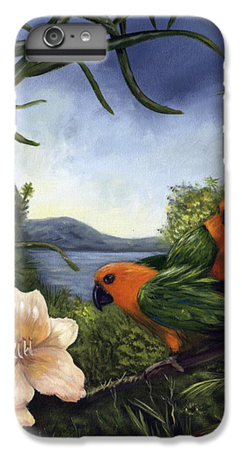 Landscape IPhone 6 Plus Case featuring the painting Conures by Anne Kushnick