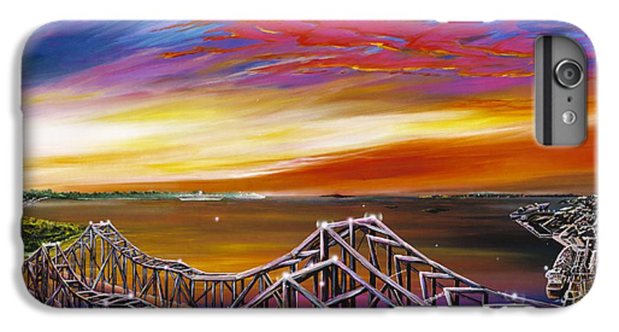 Clouds IPhone 6 Plus Case featuring the painting Cooper River Bridge by James Christopher Hill