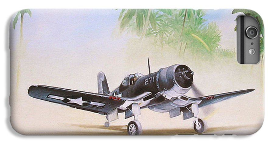 Aviation IPhone 6 Plus Case featuring the painting Corsair Preflight by Marc Stewart
