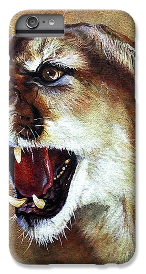 Southwest Art IPhone 6 Plus Case featuring the painting Cougar by J W Baker