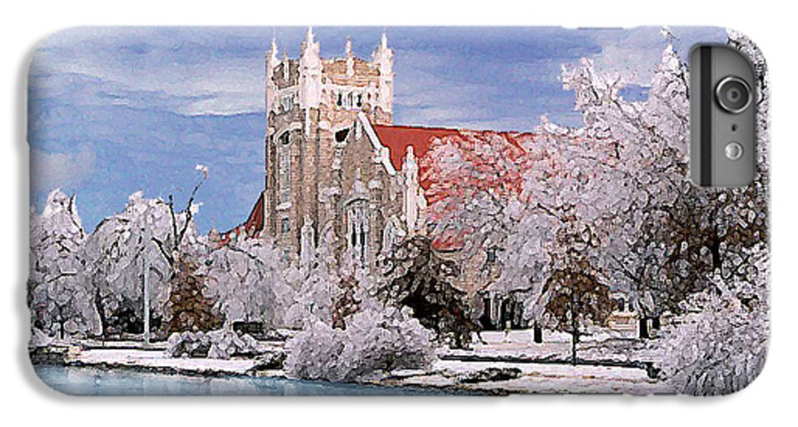Winter IPhone 6 Plus Case featuring the photograph Country Club Christian Church by Steve Karol