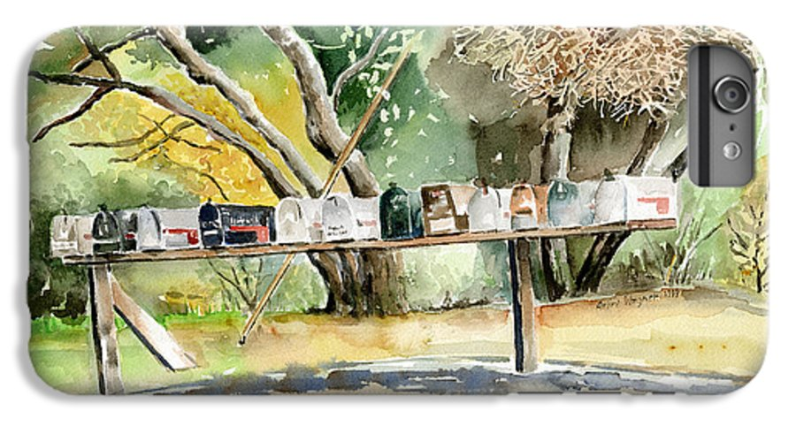 Mailboxes IPhone 6 Plus Case featuring the painting Country Mailboxes by Arline Wagner