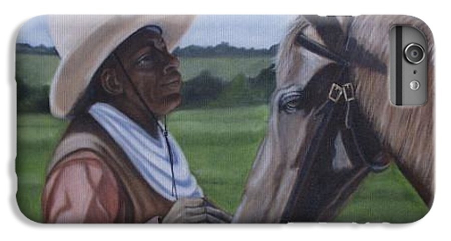Portrait IPhone 6 Plus Case featuring the painting Cowboy2 by Toni Berry