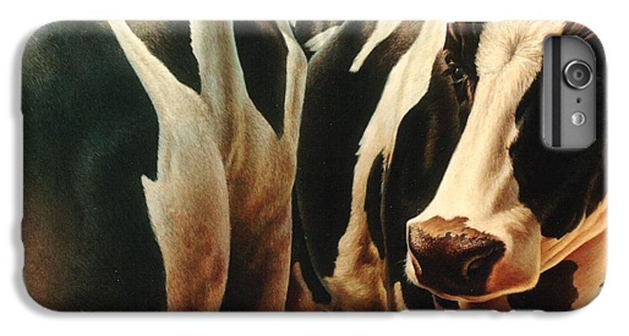 Cows IPhone 6 Plus Case featuring the painting Cows 1 by Hans Droog