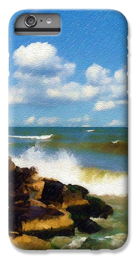 Seascape IPhone 6 Plus Case featuring the photograph Crashing Into Shore by Sandy MacGowan