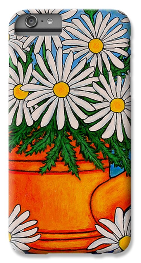 Daisies IPhone 6 Plus Case featuring the painting Crazy For Daisies by Lisa Lorenz