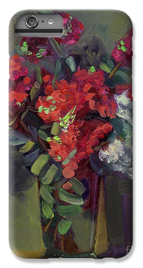 Floral IPhone 6 Plus Case featuring the painting Crepe Myrtles In Glass by Lilibeth Andre
