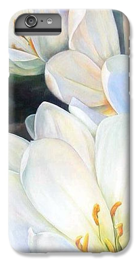 Floral Painting IPhone 6 Plus Case featuring the painting Crocus by Muriel Dolemieux
