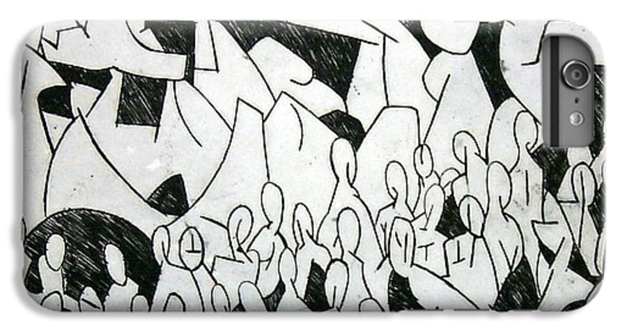 Etching IPhone 6 Plus Case featuring the print Crowd by Thomas Valentine