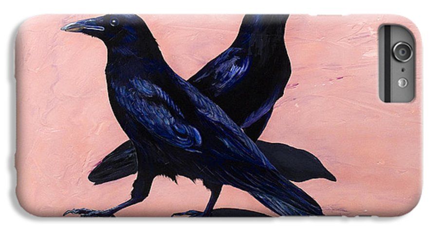 Crows IPhone 6 Plus Case featuring the painting Crows by Sandi Baker