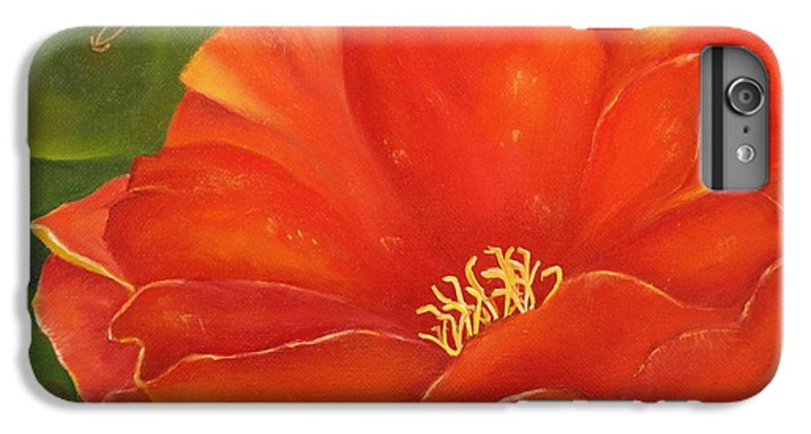 Cactus IPhone 6 Plus Case featuring the painting Cruces Bloom by Teresa Lynn Johnson