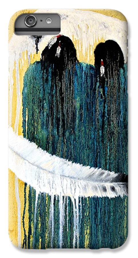 Native American IPhone 6 Plus Case featuring the painting Crying For A Vision by Patrick Trotter