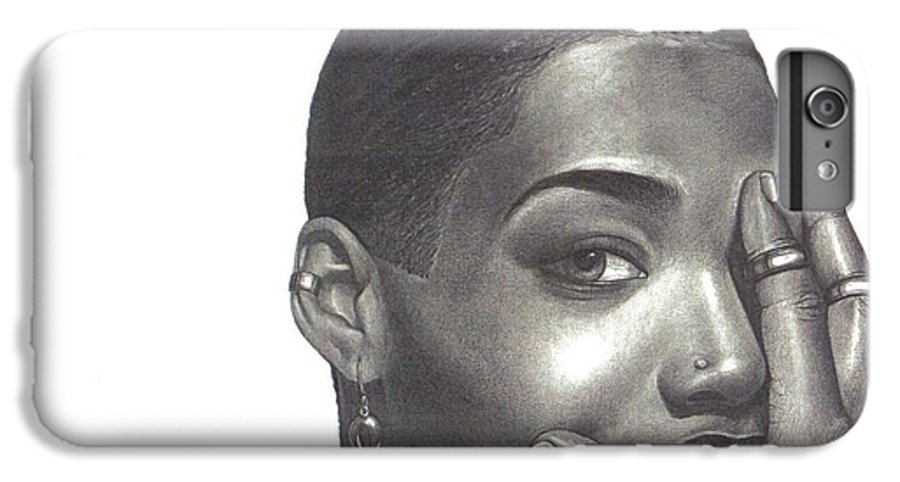 Woman IPhone 6 Plus Case featuring the drawing Crystal Blaque by Charlene Cooper