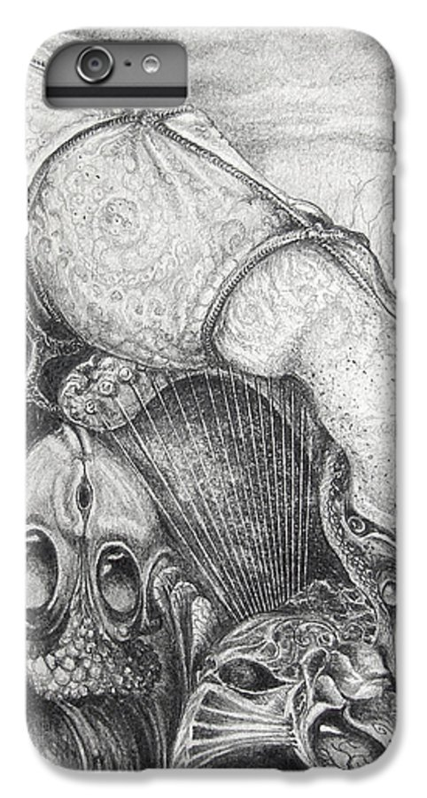 Surrealism IPhone 6 Plus Case featuring the drawing Ctulhu Seedpods by Otto Rapp