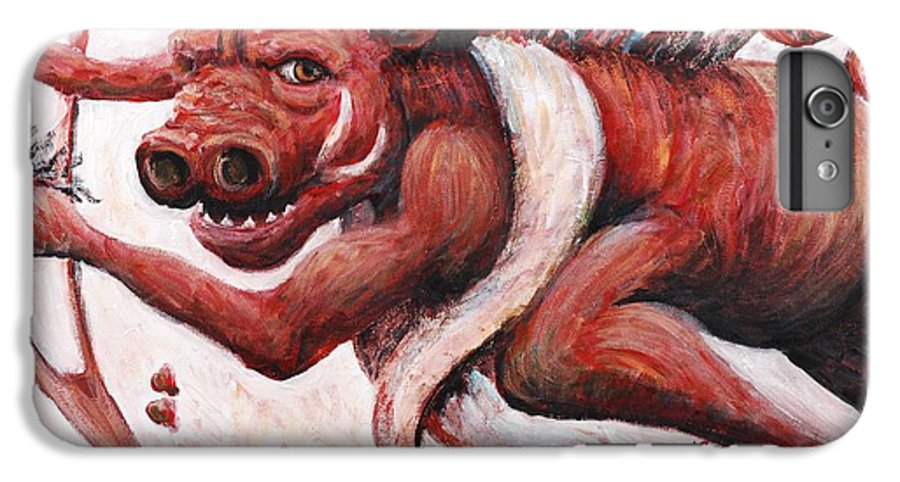 Pig IPhone 6 Plus Case featuring the painting Cupig by Nadine Rippelmeyer