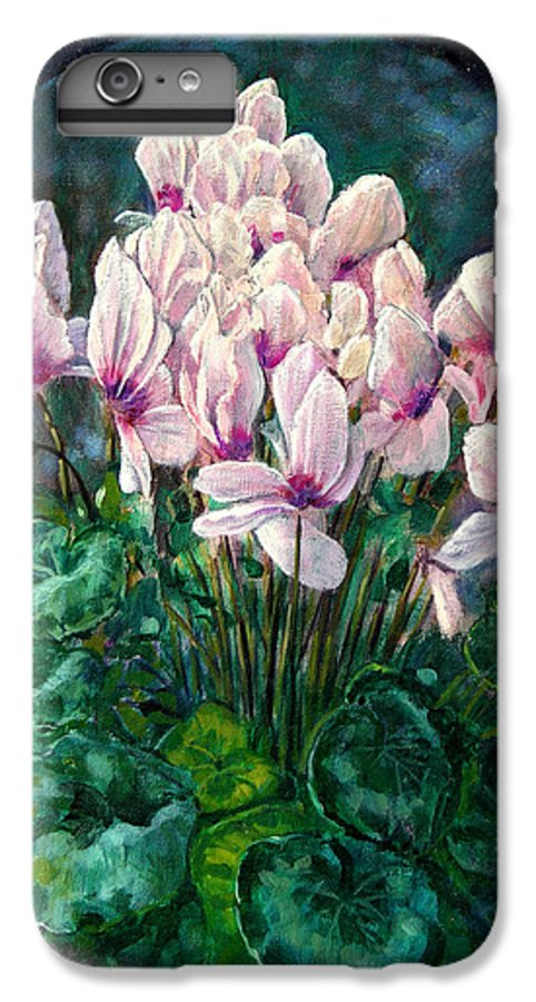 Cyclamen Flowers IPhone 6 Plus Case featuring the painting Cyclamen In Orbit by John Lautermilch