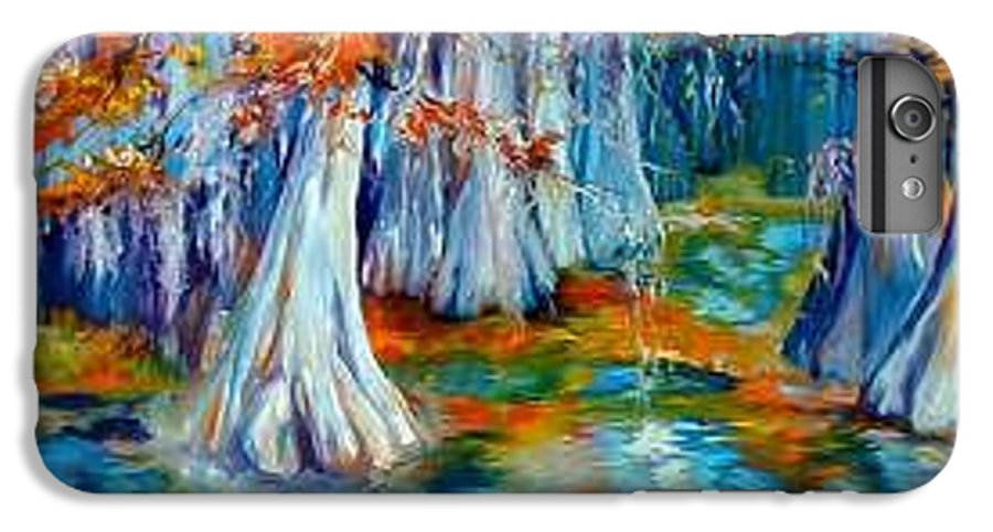 Tree IPhone 6 Plus Case featuring the painting Cypress Trees Along The Bayou by Marcia Baldwin