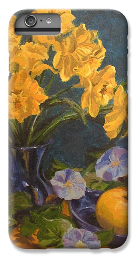 Still Life IPhone 6 Plus Case featuring the painting Daffodils by Karen Ilari