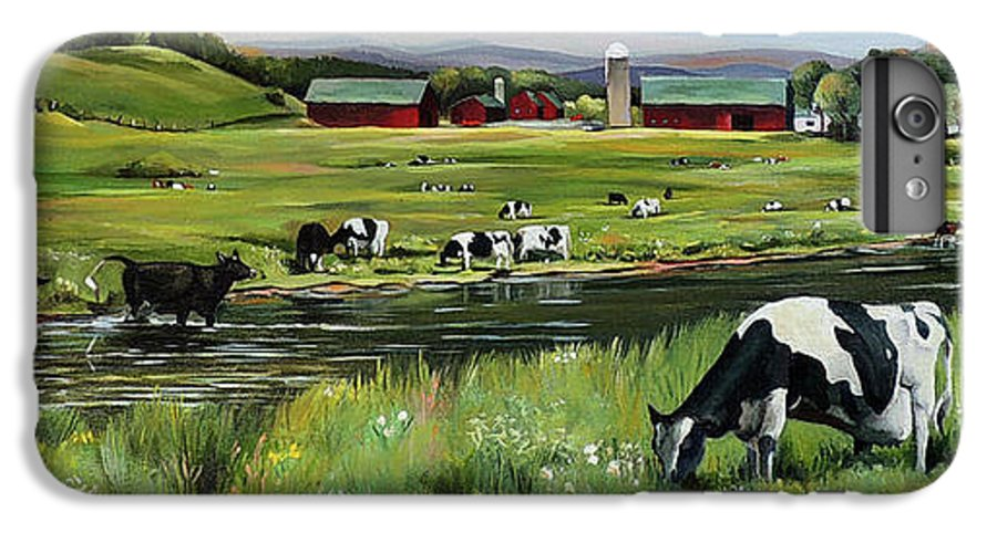 Landscape IPhone 6 Plus Case featuring the painting Dairy Farm Dream by Nancy Griswold