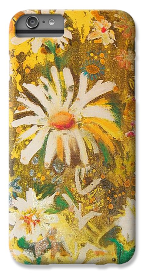 Floral Abstract IPhone 6 Plus Case featuring the painting Daisies In The Wind Vii by Henny Dagenais
