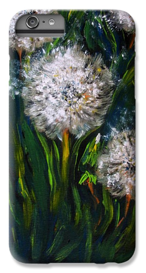 Flower Art IPhone 6 Plus Case featuring the painting Dandelions Acrylic Painting by Natalja Picugina