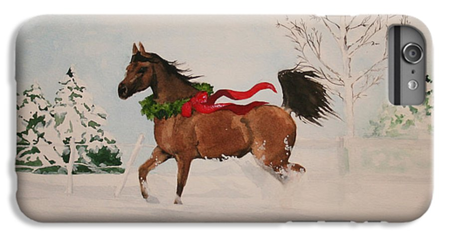 Horse IPhone 6 Plus Case featuring the painting Dashing Thru The Snow by Jean Blackmer
