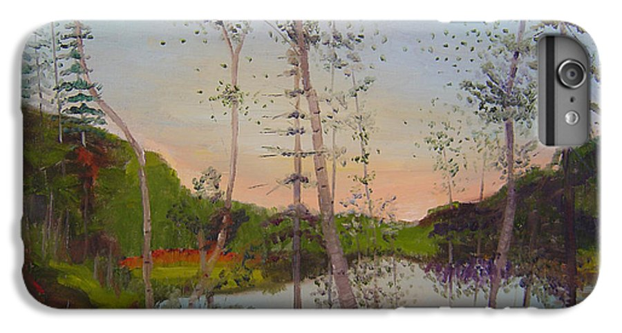 Landscape IPhone 6 Plus Case featuring the painting Dawn By The Pond by Lilibeth Andre