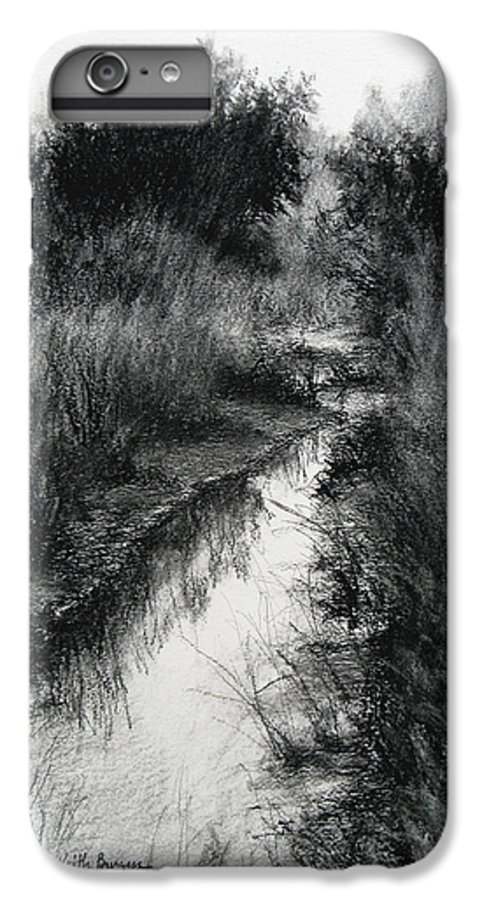 Charcoal IPhone 6 Plus Case featuring the drawing Dawn Marsh by Keith Burgess