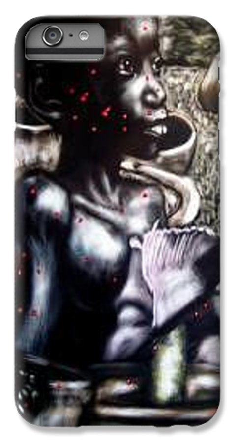 Commentary IPhone 6 Plus Case featuring the mixed media Death Of A Thousand Cuts by Chester Elmore