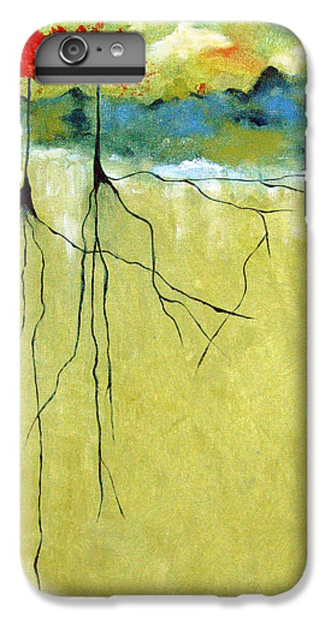 Abstract IPhone 6 Plus Case featuring the painting Deep Roots by Ruth Palmer
