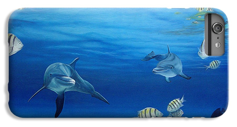 Seascape IPhone 6 Plus Case featuring the painting Delphinus by Angel Ortiz