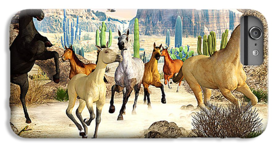 Horses IPhone 6 Plus Case featuring the photograph Desert Horses by Peter J Sucy
