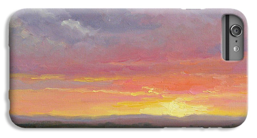 Sunset IPhone 6 Plus Case featuring the painting Desert Sundown by Bunny Oliver