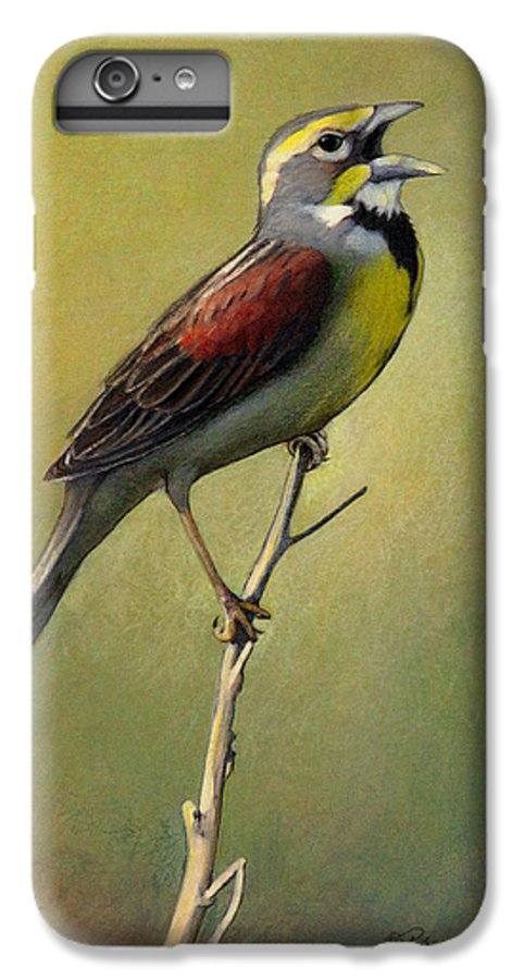 Birds IPhone 6 Plus Case featuring the drawing Dickcissel Summer Song by Bruce Morrison