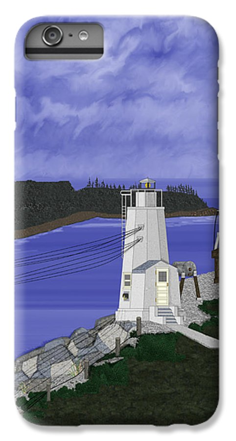 Lighthouse IPhone 6 Plus Case featuring the painting Dofflemeyer Point Lighthouse At Boston Harbor by Anne Norskog