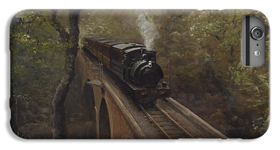 Steam IPhone 6 Plus Case featuring the painting Dolgoch Viaduct by Richard Picton