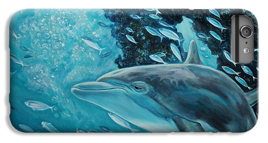 Underwater Scene IPhone 6 Plus Case featuring the painting Dolphin With Small Fish by Diann Baggett