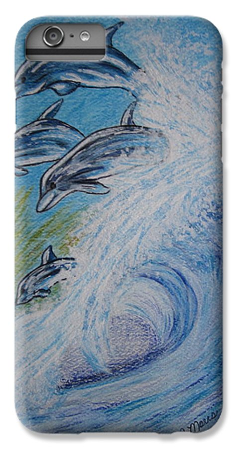 Dolphins IPhone 6 Plus Case featuring the painting Dolphins Jumping In The Waves by Kathy Marrs Chandler
