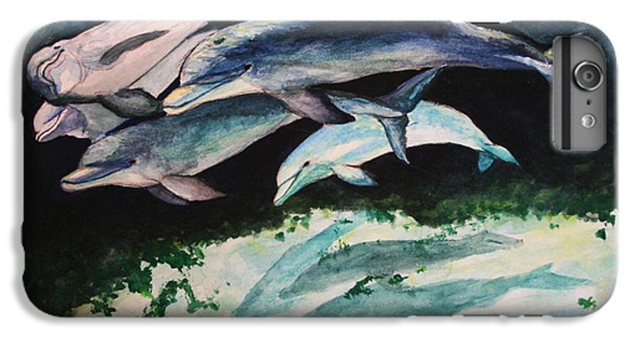 Dolphins IPhone 6 Plus Case featuring the painting Dolphins by Laura Rispoli