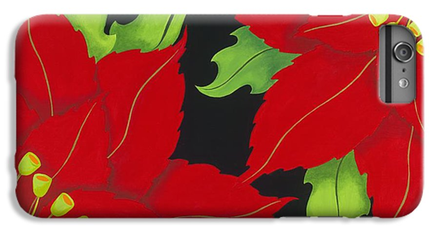 Acrylic IPhone 6 Plus Case featuring the painting Double Red Poinsettias by Carol Sabo