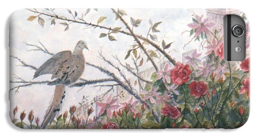 Dove; Roses IPhone 6 Plus Case featuring the painting Dove And Roses by Ben Kiger