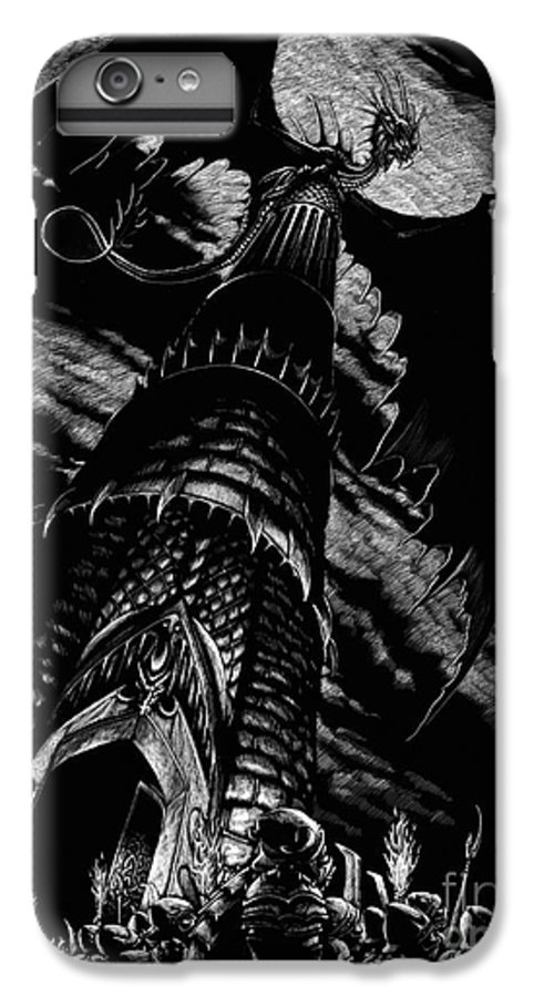 Dragon IPhone 6 Plus Case featuring the drawing Dragon Tower by Stanley Morrison