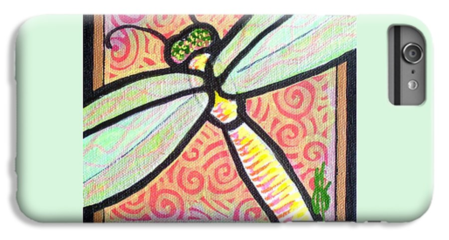 Dragonfly IPhone 6 Plus Case featuring the painting Dragonfly Fantasy 3 by Jim Harris