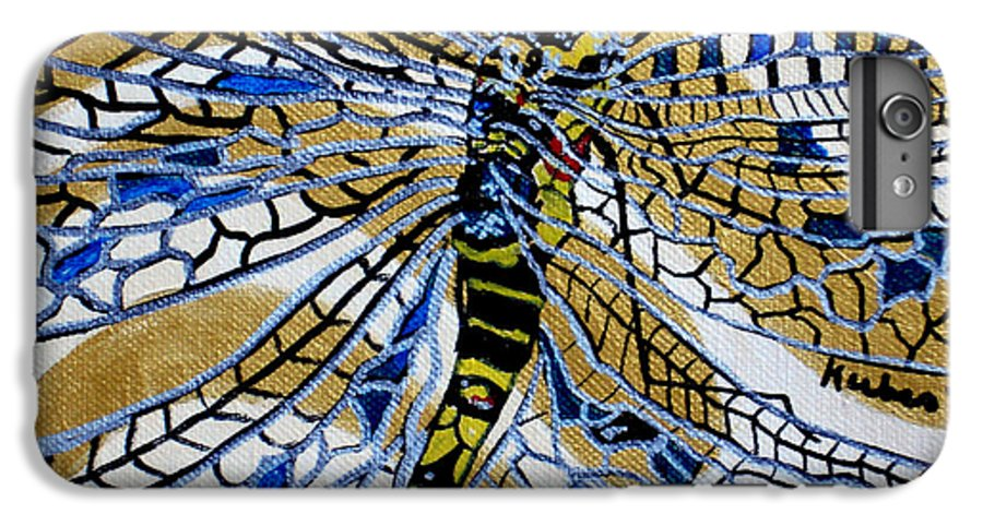 Dragonfly IPhone 6 Plus Case featuring the painting Dragonfly On Gold Scarf by Susan Kubes