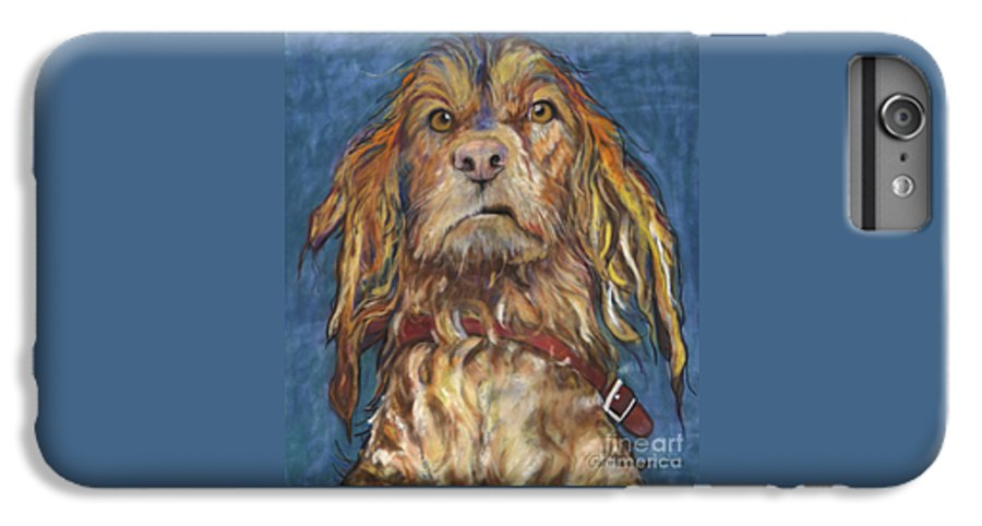 Golden Retriever Painting IPhone 6 Plus Case featuring the pastel Drenched by Pat Saunders-White