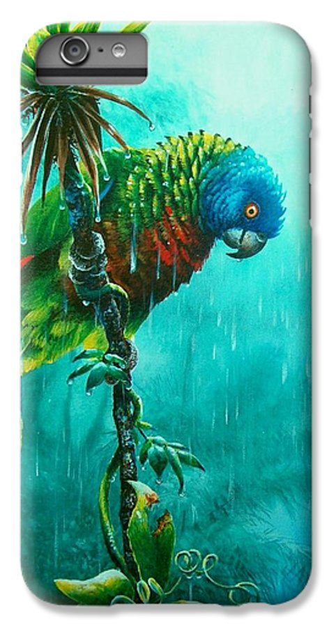 Chris Cox IPhone 6 Plus Case featuring the painting Drenched - St. Lucia Parrot by Christopher Cox